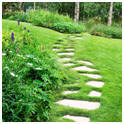 Garden Path of Stone Pavers Set Into a Lawn