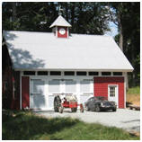 Small Hobby Barn with Tractor and Triumph Spitfire