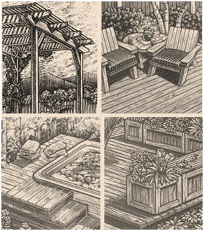 Free do it yourself deck and deck furnishing plans from for Redwood deck plans